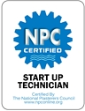 Photo of logo for NPC Certified Start Up Technician provided to Amazing Pools in Cypress, CA.